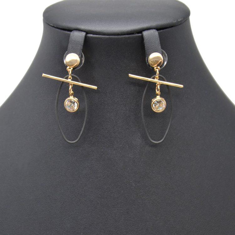 Boucles-dOreilles-Pendantes-Cercle-et-Barre-Metal-Dore-avec-Ovale-Ouvert-Noir-et-Pierre-Zirconium