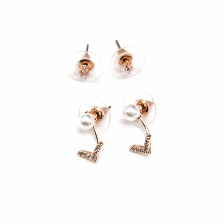 Lot-2-Paires-Boucles-dOreilles-Pierre-Etoile-et-Perle-Ecru-avec-Chevron-Zirconium-Metal-Or-Rose