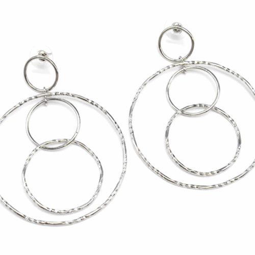 Boucles-dOreilles-Creoles-Pendantes-avec-Multi-Cercles-Metal-Relief-Argente