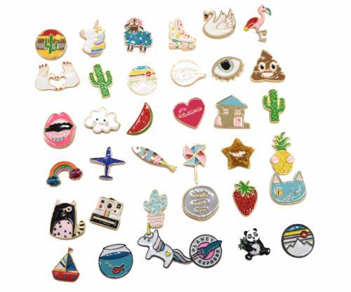 Mini-Broche-Pins-Forme-Assortie-Multicolore-et-Metal