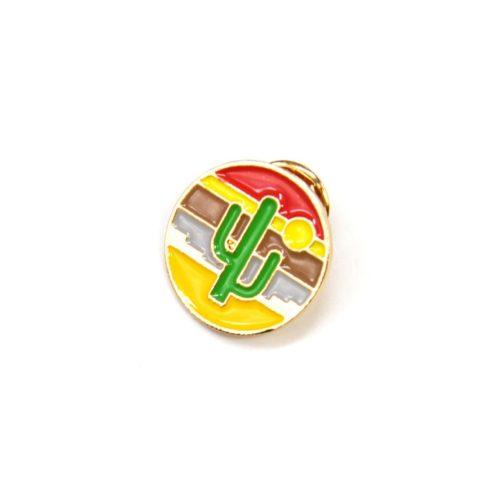 Mini-Broche-Pins-Cercle-Cactus-Paysage-Desert-Multicolore-et-Metal-Dore