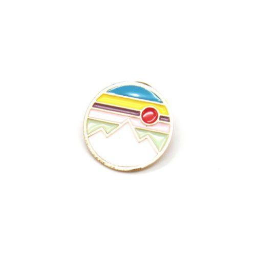 Mini-Broche-Pins-Cercle-Paysage-Montagne-Multicolore-et-Metal-Dore