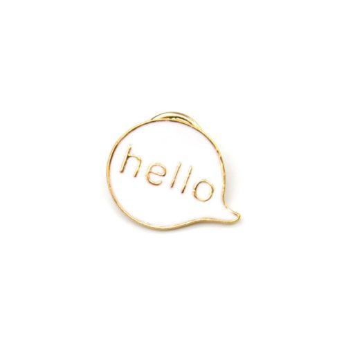 Mini-Broche-Pins-Bulle-Blanche-Message-Hello-et-Metal-Dore