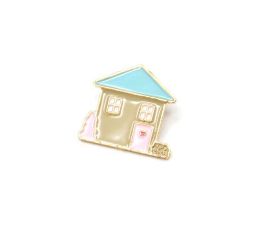 Mini-Broche-Pins-Maison-Multicolore-et-Metal-Dore