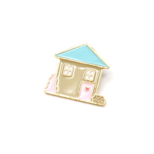 Mini-Broche-Pins-Maison-Multicolore-et-Metal-Dore
