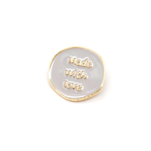 Mini-Broche-Pins-Cercle-Gris-Message-Made-With-Love-et-Metal-Dore