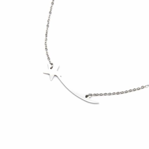 Collier-Fine-Chaine-Pendentif-Etoile-Filante-Acier-Argente