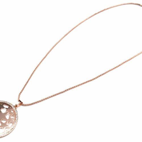 Sautoir-Collier-Pendentif-Cercle-Contour-Strass-avec-Multi-Etoiles-Metal-Or-Rose