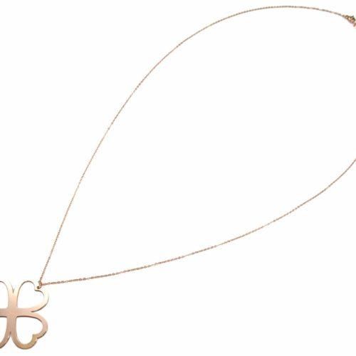 Sautoir-Collier-Fine-Chaine-Pendentif-Trefle-Chance-Contour-Acier-Or-Rose