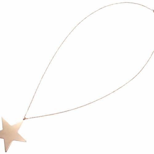 Sautoir-Collier-Fine-Chaine-Pendentif-Etoile-Acier-Or-Rose