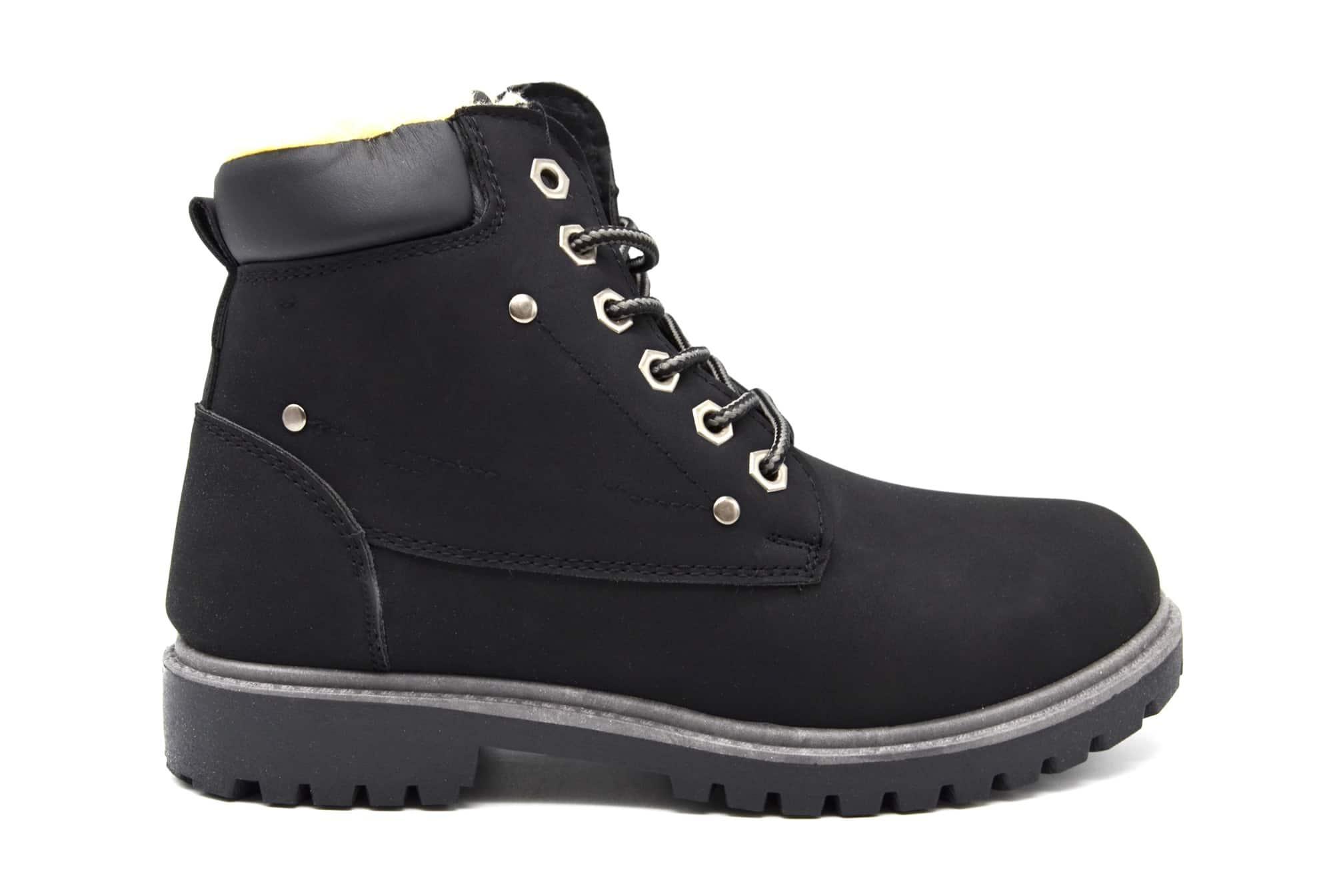 SHF101Bottines Boots avec Simili Randonnée Fourrée et Style CuirNoir Doublure L4Rq35Aj