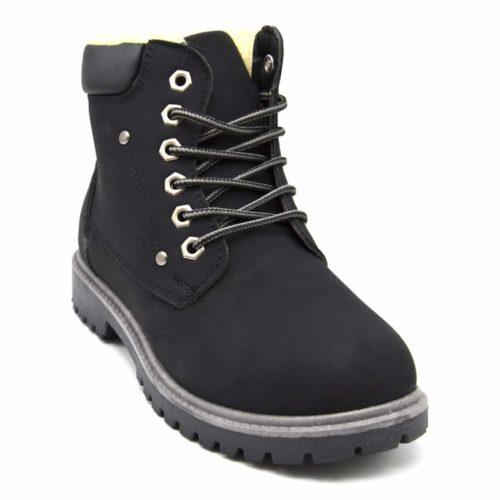 Bottines-Boots-Style-Randonnee-avec-Doublure-Fourree-et-Bord-Simili-Cuir-Noir