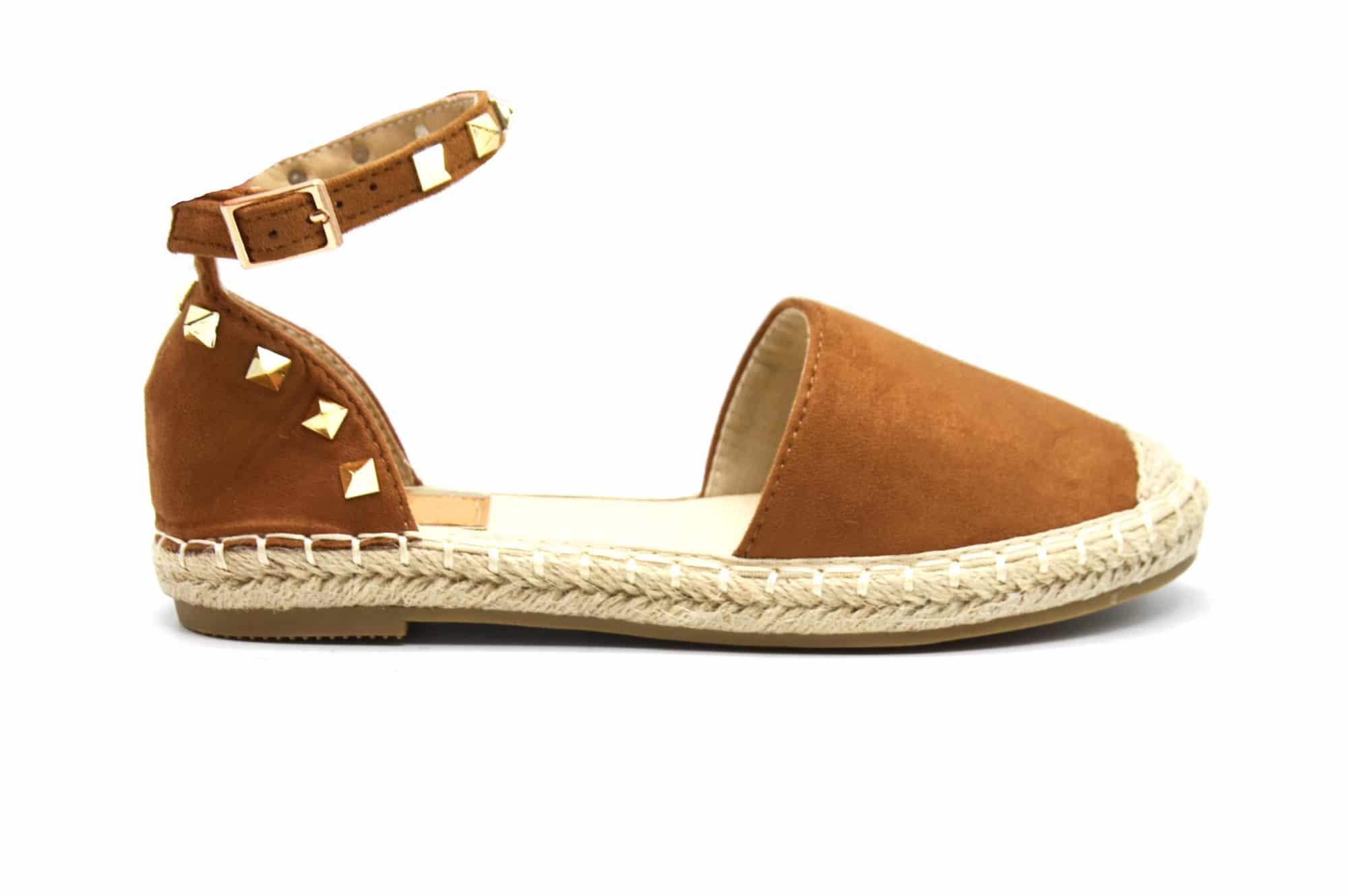 exclusive shoes how to buy unique design SHP126 * Espadrilles Effet Daim Camel avec Bride Cheville, Clous Métal Doré  et Semelle Paille