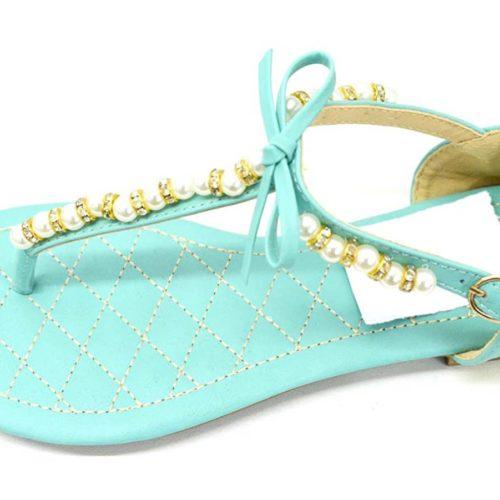 Sandales-Nu-Pieds-Plats-Bride-Simili-Cuir-Bleu-Vert-avec-Perles-Pierres-et-Noeud