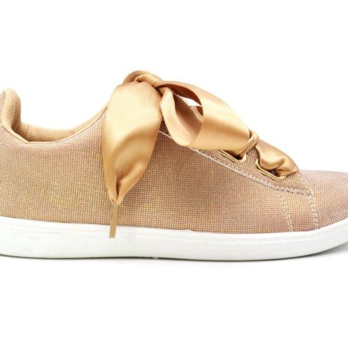 Baskets-Tennis-Sneakers-Toile-3D-Champagne-avec-Effet-Reflechissant-Lumiere-Ruban-Satin-et-Semelle-Blanche