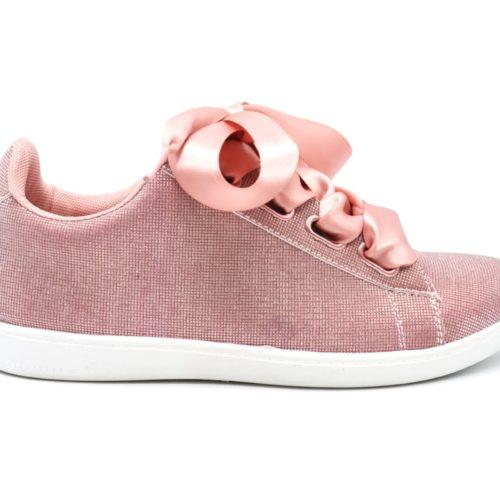 Baskets-Tennis-Sneakers-Toile-3D-Rose-avec-Effet-Reflechissant-Lumiere-Ruban-Satin-et-Semelle-Noire