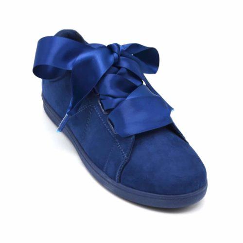 Baskets-Tennis-Sneakers-Effet-Daim-Bleu-Marine-avec-Surpiqures-Ruban-Satin-et-Semelle-Unie