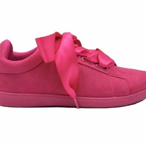 Baskets-Tennis-Sneakers-Effet-Daim-Fuchsia-avec-Surpiqures-Ruban-Satin-et-Semelle-Unie