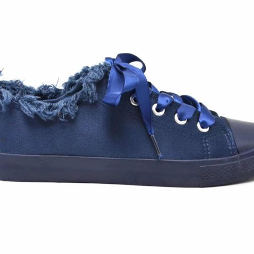 Baskets-Tennis-Sneakers-Tissu-Satine-Bleu-Marine-avec-Bord-Effet-Jean-Denim-Dechire-et-Lacet-Ruban