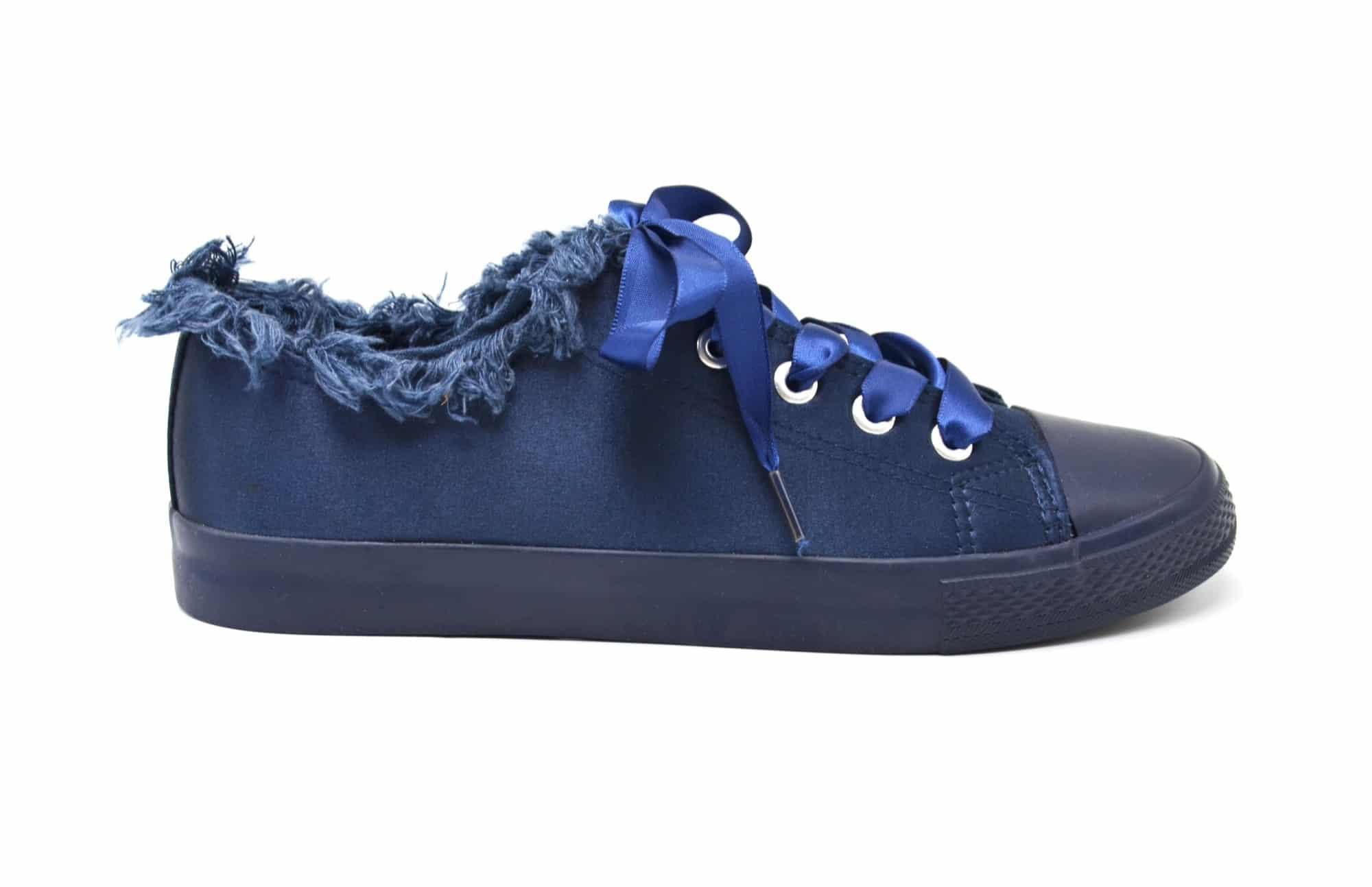 abd58dc5ce7a6 SHY58   Baskets Tennis Sneakers Tissu Satiné Bleu Marine avec Bord ...
