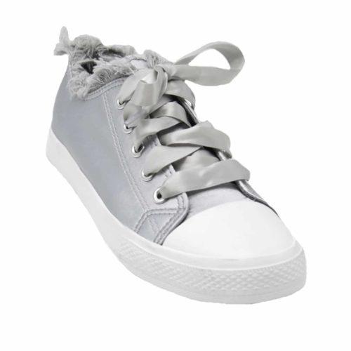 Baskets-Tennis-Sneakers-Tissu-Satine-Gris-avec-Bord-Effet-Jean-Denim-Dechire-et-Lacet-Ruban