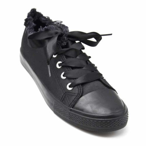Baskets-Tennis-Sneakers-Tissu-Satine-Noir-avec-Bord-Effet-Jean-Denim-Dechire-et-Lacet-Ruban