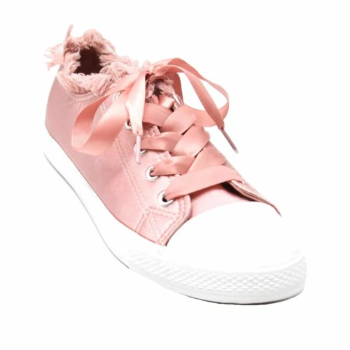 Baskets-Tennis-Sneakers-Tissu-Satine-Rose-avec-Bord-Effet-Jean-Denim-Dechire-et-Lacet-Ruban