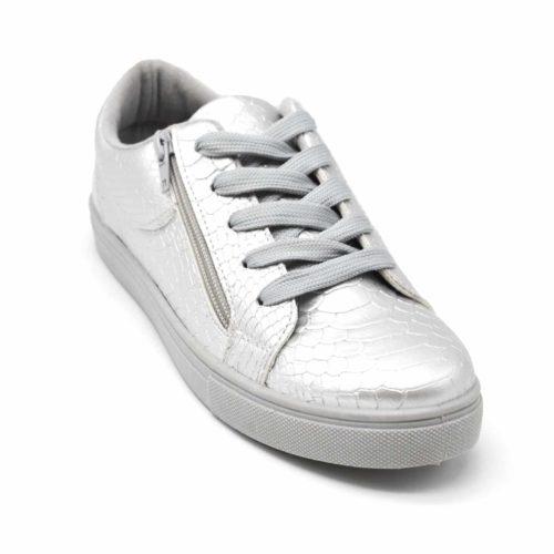 Baskets-Tennis-Sneakers-Simili-Cuir-Vernis-Argente-avec-Motif-Croco-Fermeture-Zip-et-Lacets