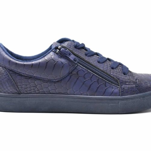 Baskets-Tennis-Sneakers-Simili-Cuir-Vernis-Bleu-Marine-avec-Motif-Croco-Fermeture-Zip-et-Lacets