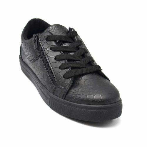 Baskets-Tennis-Sneakers-Simili-Cuir-Vernis-Noir-avec-Motif-Croco-Fermeture-Zip-et-Lacets