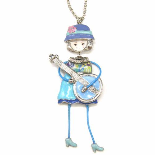 Sautoir-Collier-Pendentif-Poupee-Articulee-Femme-Robe-Metal-Peint-Bleu-avec-Motif-Fleuri-Guitare-et-Chapeau