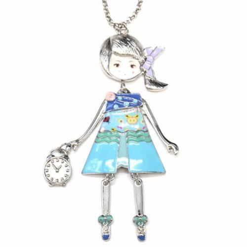Sautoir-Collier-Pendentif-Poupee-Articulee-Femme-Robe-Metal-Peint-Bleu-avec-Pois-Motif-Fleuri-Couette-et-Noeud-Ruban