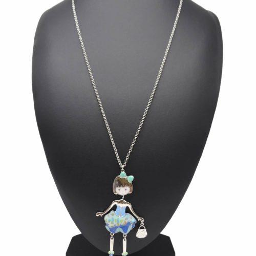 Sautoir-Collier-Pendentif-Poupee-Articulee-Femme-Robe-Bustier-Metal-Peint-Bleu-avec-Jupon-Motif-Fleuri-et-Noeud-Pois