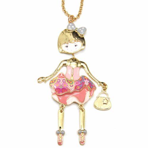 Sautoir-Collier-Pendentif-Poupee-Articulee-Femme-Robe-Bustier-Metal-Peint-Rose-avec-Jupon-Motif-Fleuri-et-Noeud-Pois