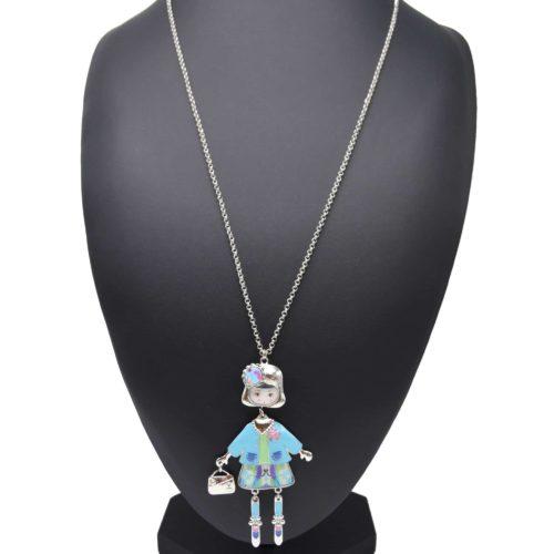 Sautoir-Collier-Pendentif-Poupee-Articulee-Femme-Robe-Metal-Peint-Turquoise-avec-Gilet-Jupe-Motif-Fleuri-et-Bijou-Tete