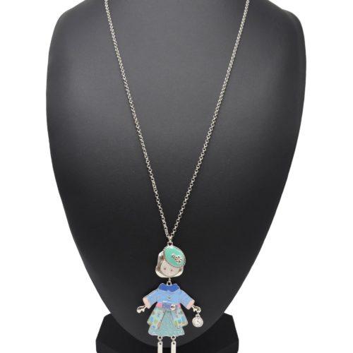 Sautoir-Collier-Pendentif-Poupee-Articulee-Femme-Robe-Metal-Peint-Bleu-avec-Pull-Ceinture-Jupe-Pois-Motif-Fleuri-et-Beret