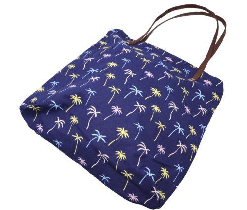 Tote-Bag-Sac-Fourre-Tout-Epaule-Tissu-Imprime-Palmiers-Bleu-Marine