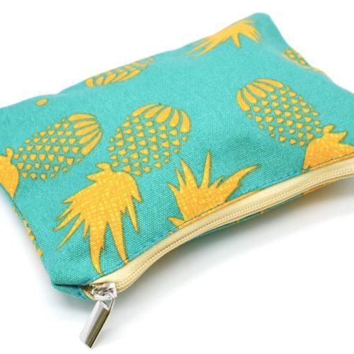 Trousse-a-Maquillage-Pochette-Rangement-Tissu-Imprime-Ananas-Jaune-Bleu-Vert