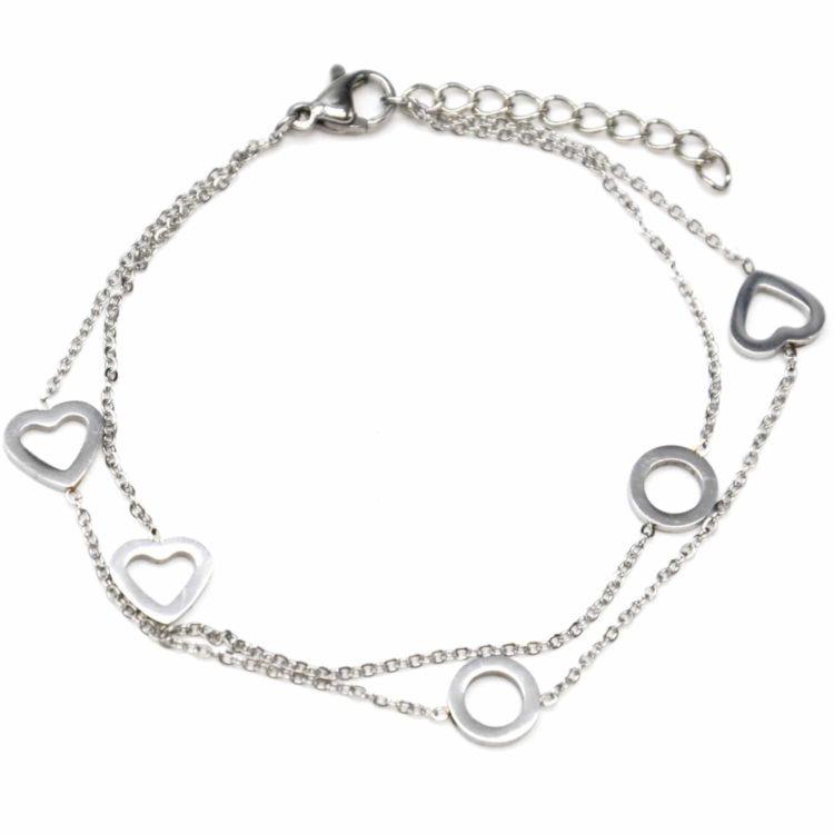 Bracelet-Double-Chaine-avec-Multi-Charms-Coeurs-et-Cercles-Acier-Argente