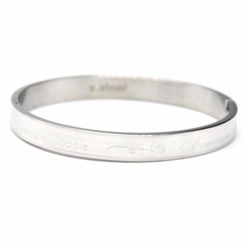 Bracelet-Jonc-Moyen-Acier-Argente-avec-Message-Forever-Love-et-Rose