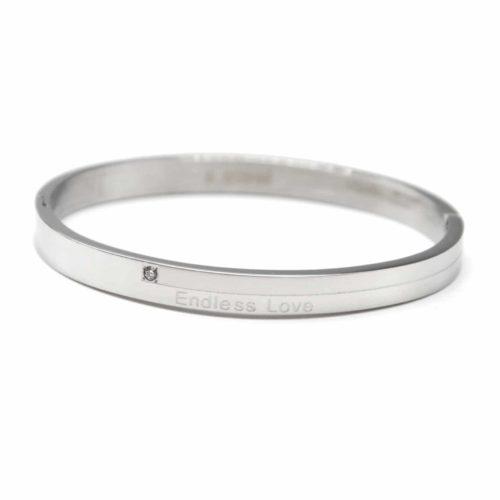 Bracelet-Jonc-Moyen-Acier-Argente-avec-Message-Endless-love-et-Strass-Zirconium
