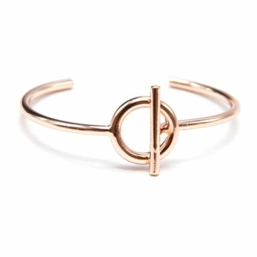 Bracelet-Jonc-Ouvert-avec-Cercle-Creux-et-Barre-Metal-Or-Rose