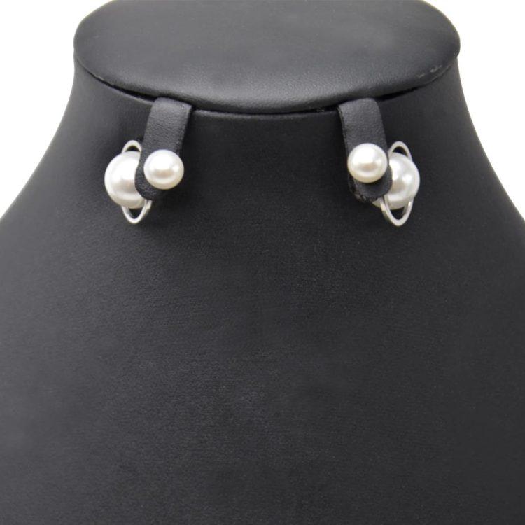 Boucles-dOreilles-Traversantes-Double-Perles-Ecru-avec-Contour-Cercle-Metal-Argente