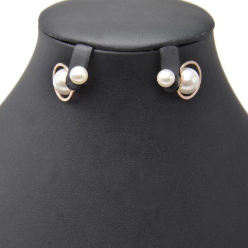 Boucles-dOreilles-Traversantes-Double-Perles-Ecru-avec-Contour-Cercle-Metal-Or-Rose