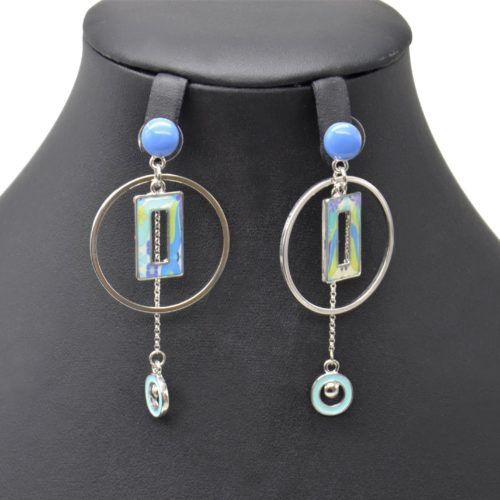 Boucles-dOreilles-Pendantes-Cercle-Metal-Argente-avec-Rectangle-et-Mini-Cercles-Peints-Bleu