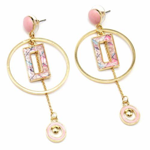 Boucles-dOreilles-Pendantes-Cercle-Metal-Dore-avec-Rectangle-et-Mini-Cercles-Peints-Rose