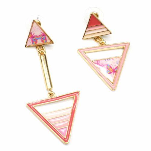 Boucles-dOreilles-Pendantes-Double-Triangle-Metal-Dore-avec-Motif-Paisley-et-Degrade-Peint-Corail