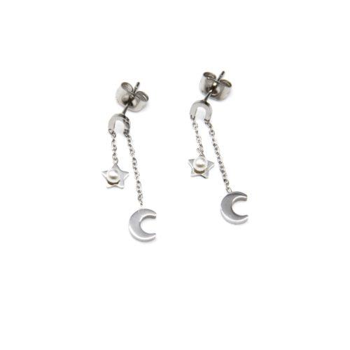 Boucles-dOreilles-Pendantes-Mini-Fer-Cheval-et-Fine-Chaîne-Acier-Argente-avec-Etoile-et-Lune