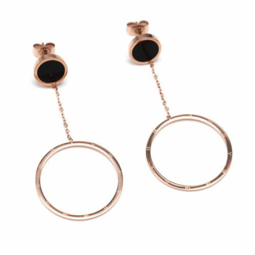 Boucles-dOreilles-Pendantes-avec-Cercle-Noir-et-Cercle-Creux-Acier-Or-Rose