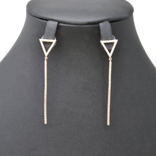 Boucles-dOreilles-Pendantes-avec-Triangle-Inverse-et-Barre-Strass-Zirconium-Metal-Or-Rose